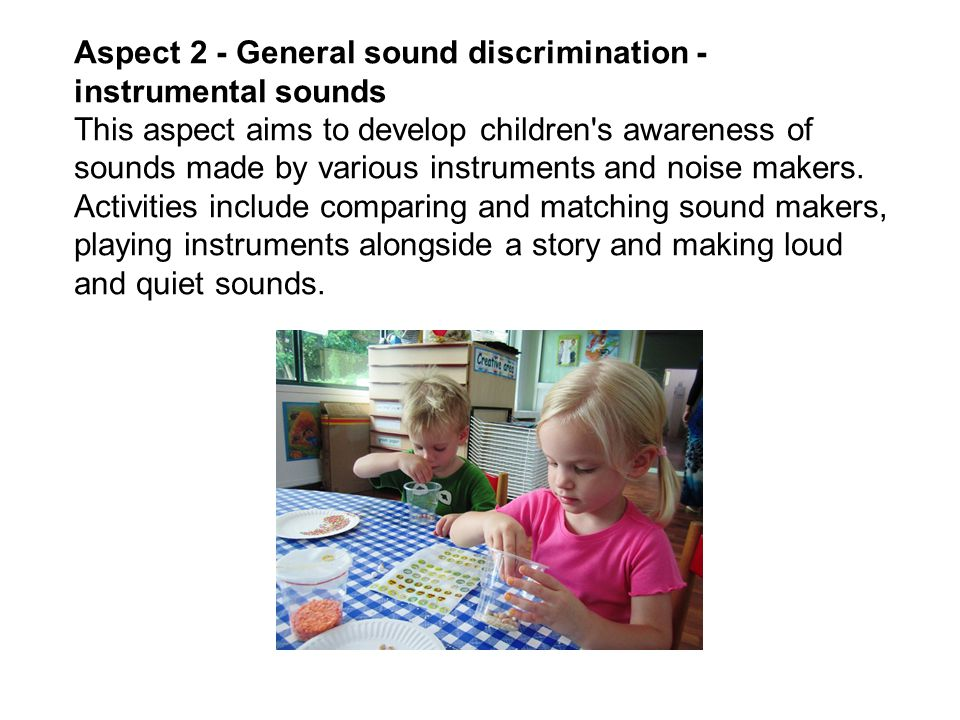 Aspect 2 - General sound discrimination - instrumental sounds This aspect aims to develop children s awareness of sounds made by various instruments and noise makers.