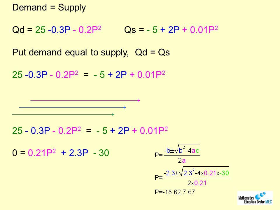 Demand = Supply Qd = 25 -0.3P - 0.2P 2 Qs = - 5 + 2P + 0.01P 2 Put demand equal to supply, Qd = Qs 25 -0.3P - 0.2P 2 = - 5 + 2P + 0.01P 2 25 - 0.3P - 0.2P 2 = - 5 + 2P + 0.01P 2 0 = 0.21P 2 + 2.3P - 30