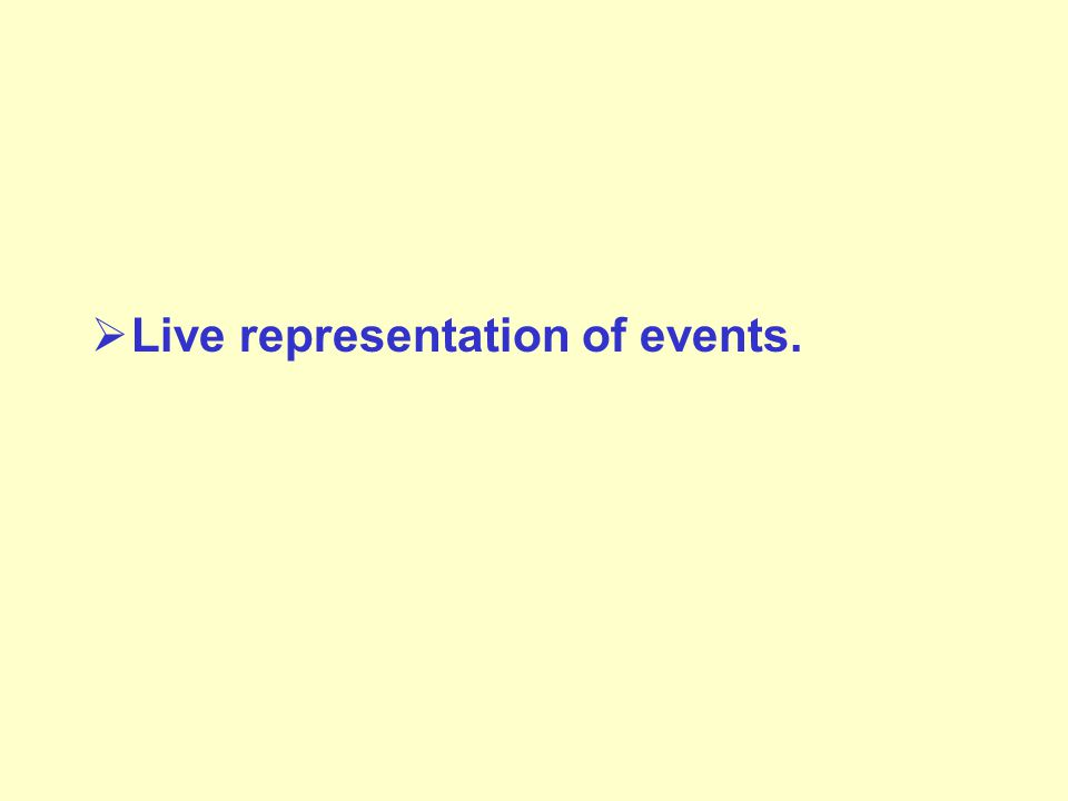  Live representation of events.