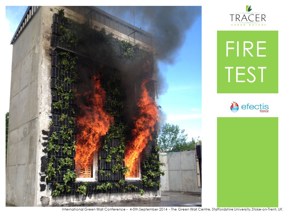 International Green Wall Conference - 4-5th September 2014 - The Green Wall Centre, Staffordshire University, Stoke-on-Trent, UK FIRE TEST