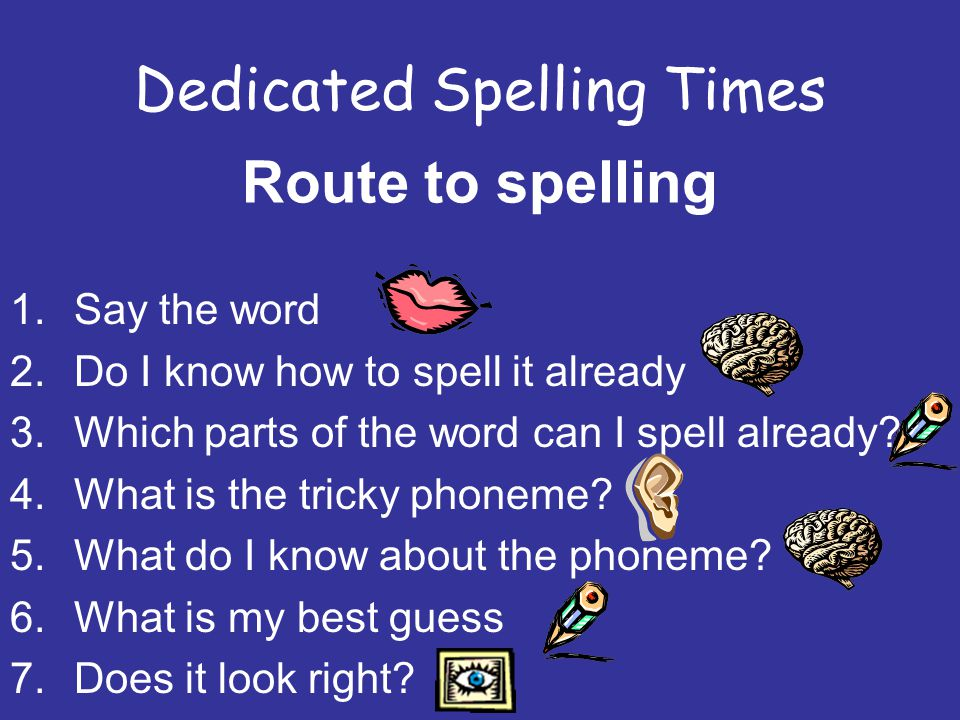 Dedicated Spelling Times Route to spelling 1.Say the word 2.Do I know how to spell it already 3.Which parts of the word can I spell already.