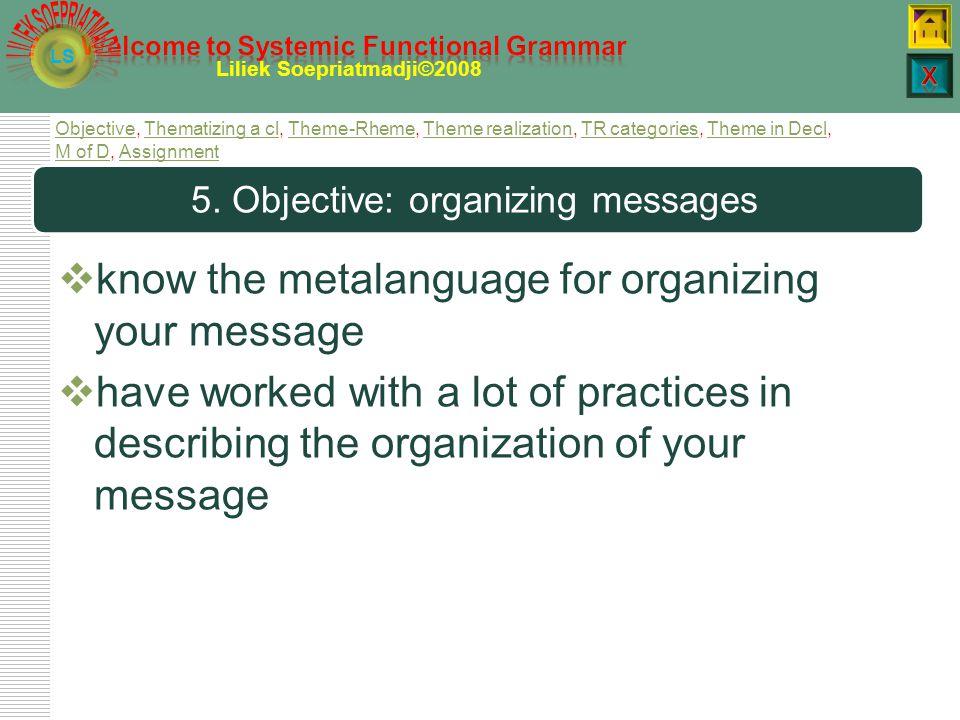 L LS Liliek Soepriatmadji©2008 Organizing messages