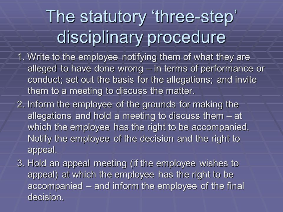 The statutory 'three-step' disciplinary procedure 1.