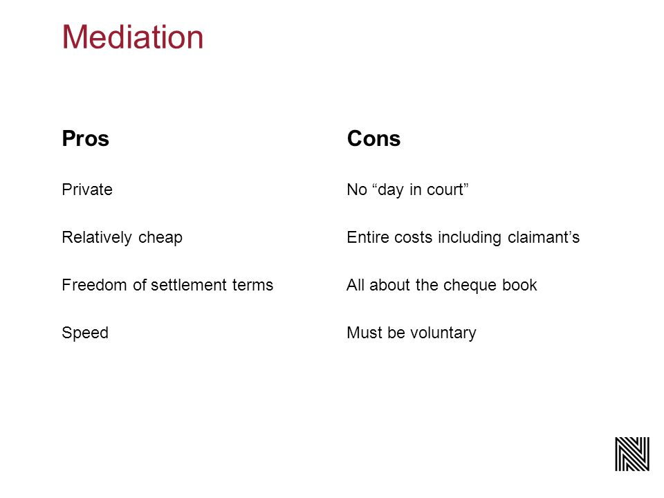Mediation Pros Private Relatively cheap Freedom of settlement terms Speed Cons No day in court Entire costs including claimant's All about the cheque book Must be voluntary