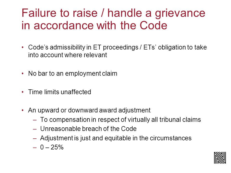 The Code's procedure for handling a grievance Employees to seek informal resolution – Code requirement.