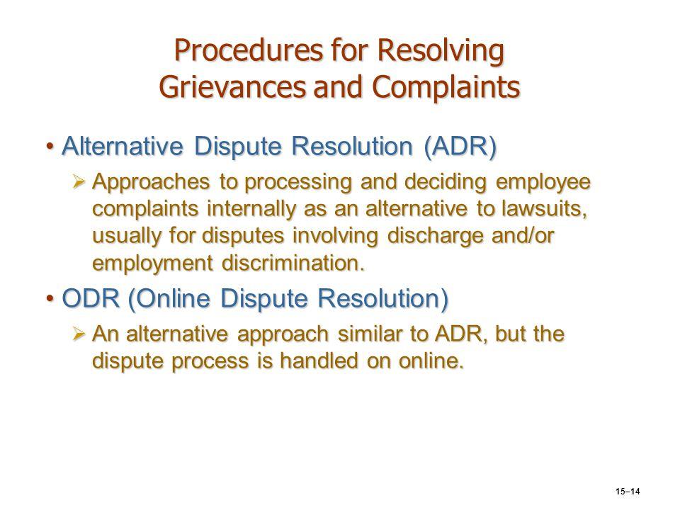 15–14 Procedures for Resolving Grievances and Complaints Alternative Dispute Resolution (ADR)Alternative Dispute Resolution (ADR)  Approaches to proc