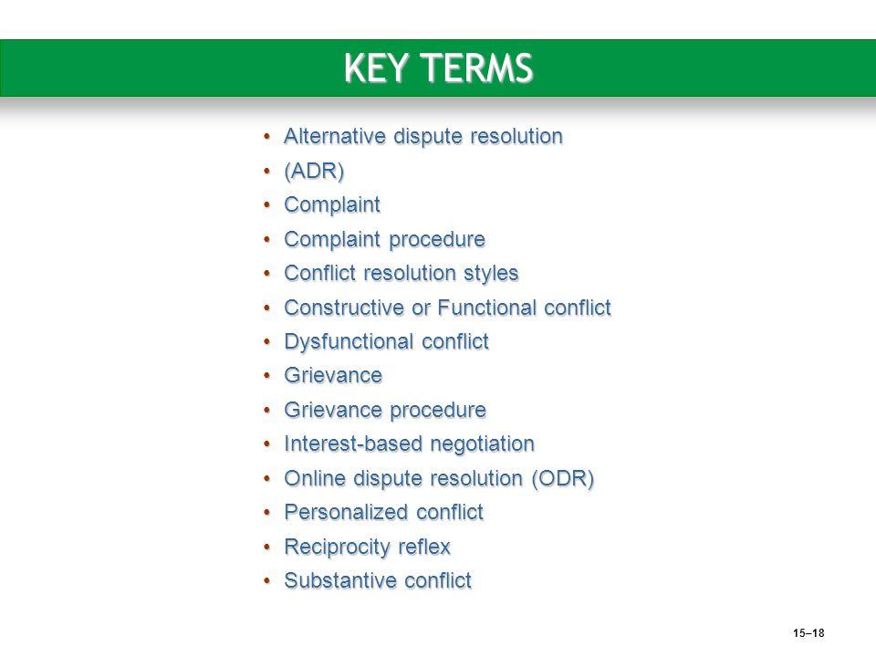 15–18 KEY TERMS Alternative dispute resolutionAlternative dispute resolution (ADR)(ADR) ComplaintComplaint Complaint procedureComplaint procedure Conf