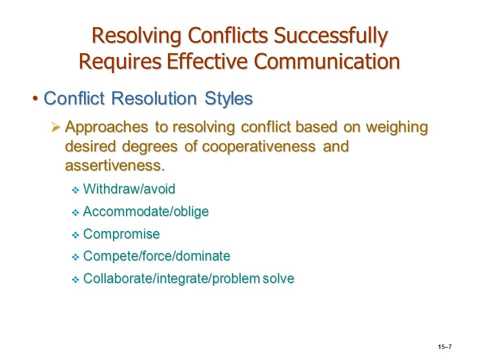 15–7 Resolving Conflicts Successfully Requires Effective Communication Conflict Resolution StylesConflict Resolution Styles  Approaches to resolving