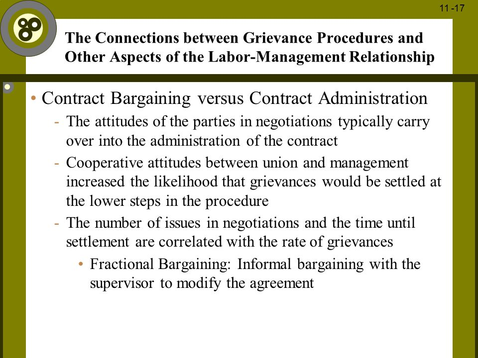 1 - 17 11 -17 The Connections between Grievance Procedures and Other Aspects of the Labor-Management Relationship Contract Bargaining versus Contract
