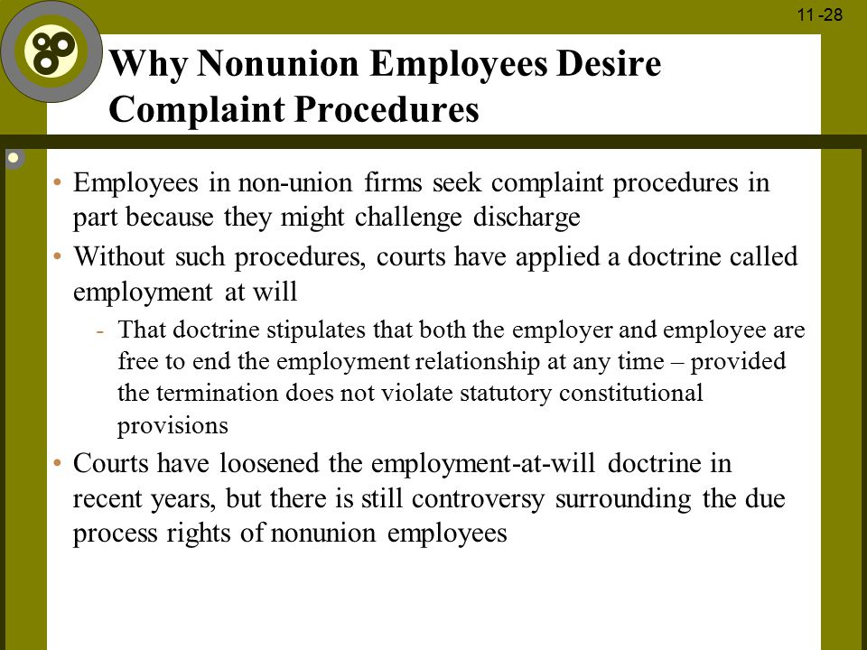 1 - 28 11 -28 Why Nonunion Employees Desire Complaint Procedures Employees in non-union firms seek complaint procedures in part because they might cha
