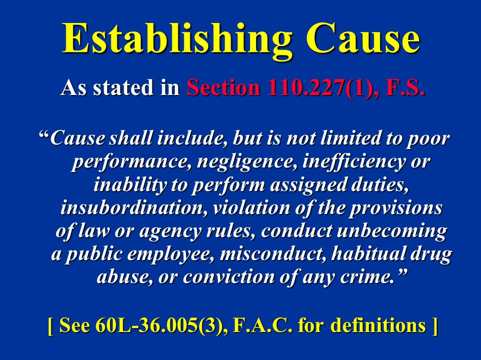 """Establishing Cause As stated in Section 110.227(1), F.S. """"Cause shall include, but is not limited to poor performance, negligence, inefficiency or ina"""