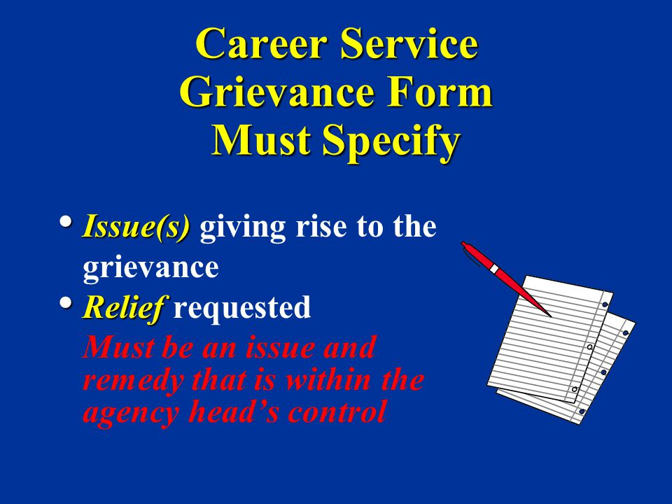 Career Service Grievance Form Must Specify Issue(s) Issue(s) giving rise to the grievance Relief Relief requested Must be an issue and remedy that is