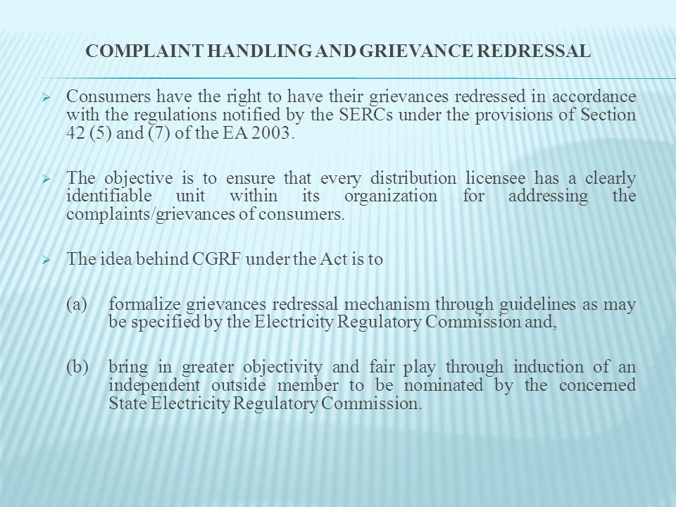  CGRF is conceived as an integral organ of the distribution licensee.