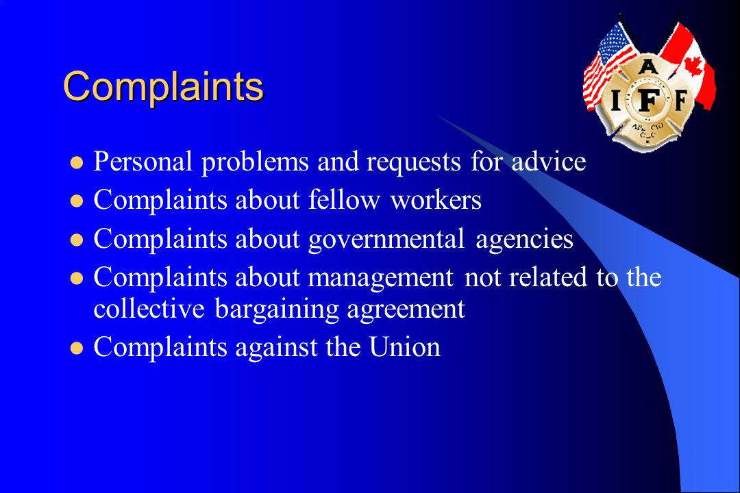 Complaints Personal problems and requests for advice Complaints about fellow workers Complaints about governmental agencies Complaints about managemen
