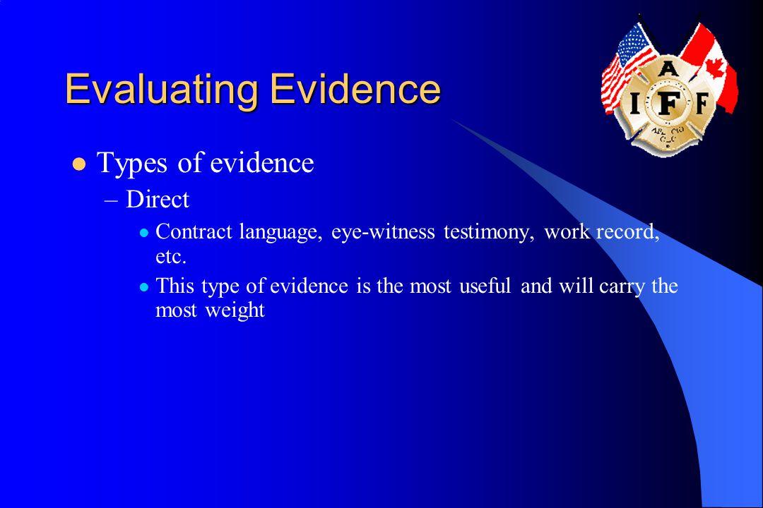 Evaluating Evidence Types of evidence –Direct Contract language, eye-witness testimony, work record, etc.