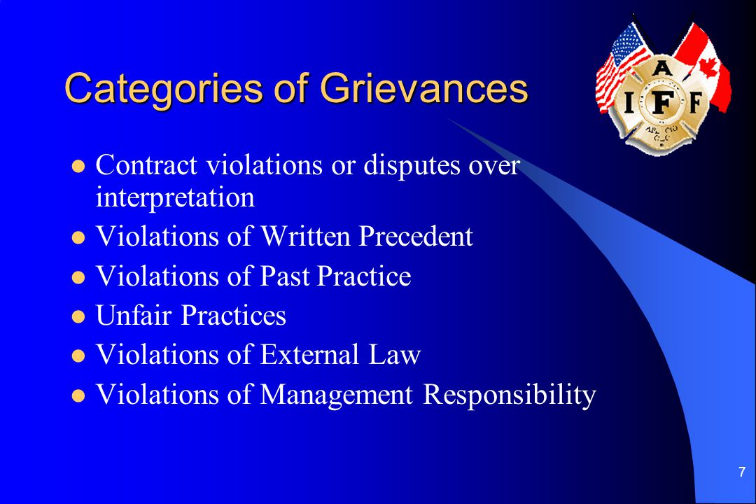 7 Categories of Grievances Contract violations or disputes over interpretation Violations of Written Precedent Violations of Past Practice Unfair Practices Violations of External Law Violations of Management Responsibility