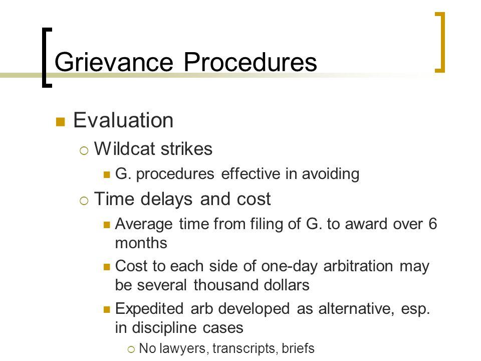 Grievance Procedures Evaluation  Wildcat strikes G.