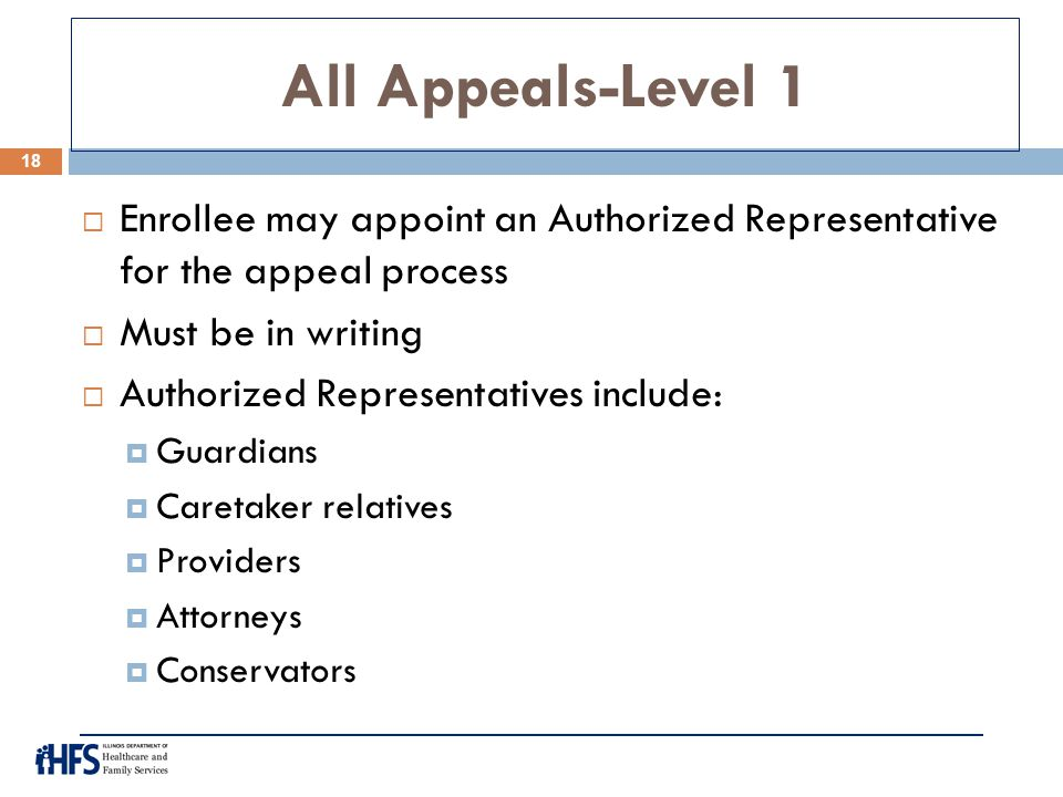 All Appeals-Level 1  Enrollee may appoint an Authorized Representative for the appeal process  Must be in writing  Authorized Representatives inclu