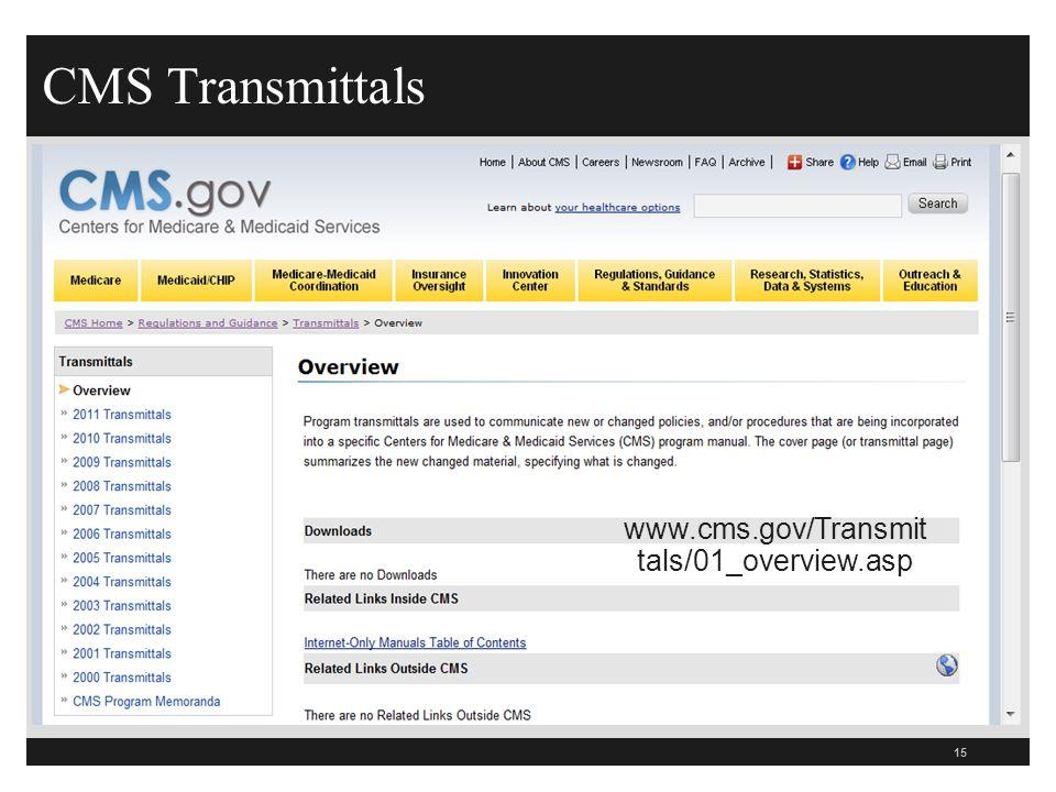 CMS Transmittals 15 www.cms.gov/Transmit tals/01_overview.asp