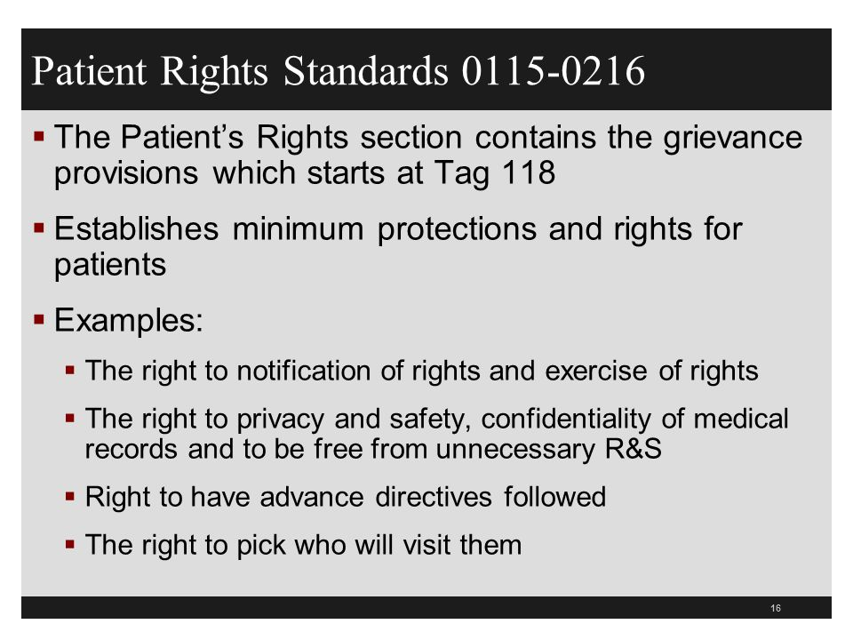 16  The Patient's Rights section contains the grievance provisions which starts at Tag 118  Establishes minimum protections and rights for patients