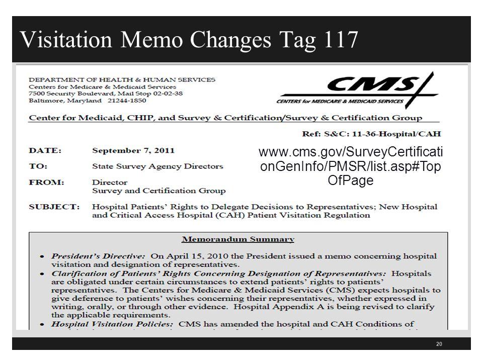 Visitation Memo Changes Tag 117 20 www.cms.gov/SurveyCertificati onGenInfo/PMSR/list.asp#Top OfPage