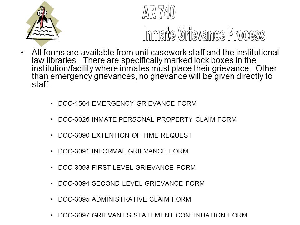 All forms are available from unit casework staff and the institutional law libraries. There are specifically marked lock boxes in the institution/faci