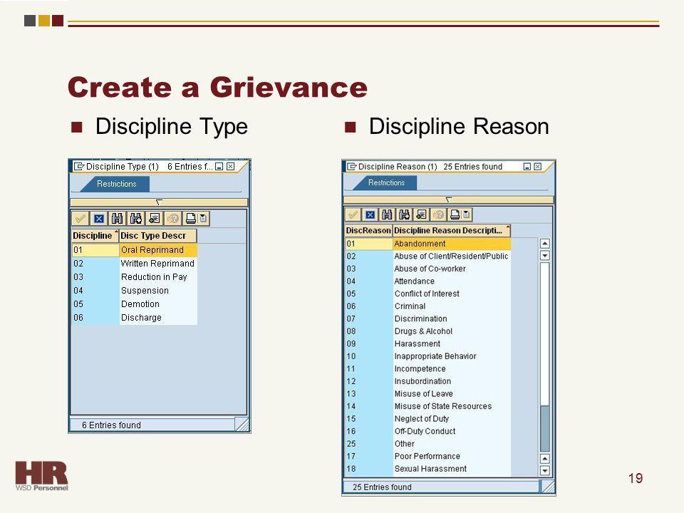 Create a Grievance 19 Discipline Type Discipline Reason