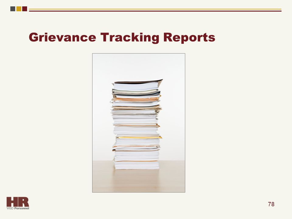 Grievance Tracking Reports 78