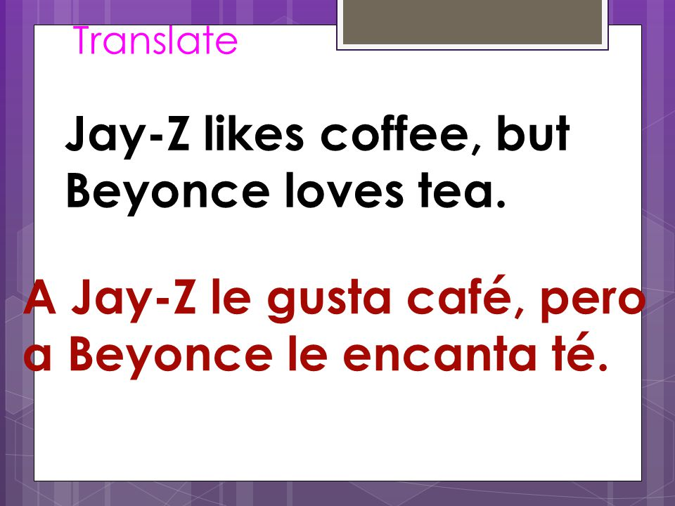 Translate Jay-Z likes coffee, but Beyonce loves tea.