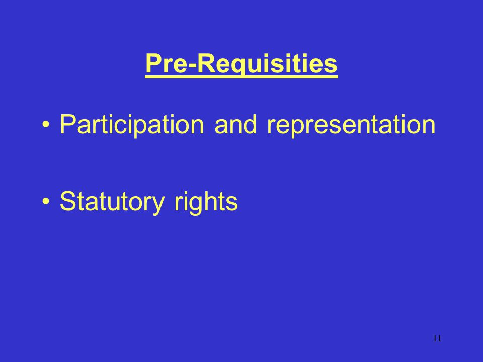11 Pre-Requisities Participation and representation Statutory rights