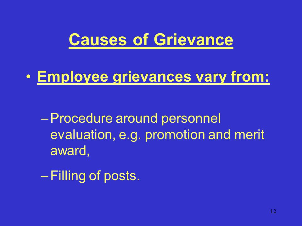 12 Causes of Grievance Employee grievances vary from: –Procedure around personnel evaluation, e.g.