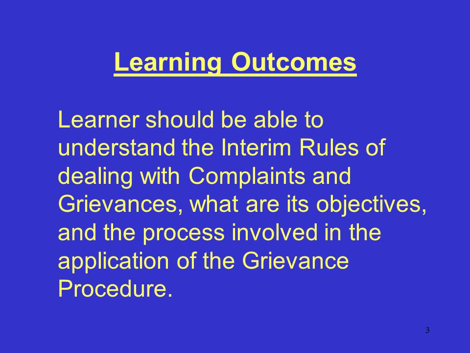 14 General Rules when addressing Grievance.