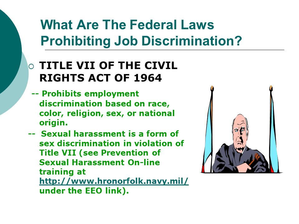 TITLE VII OF THE CIVIL RIGHTS ACT OF 1964 -- Prohibits employment discrimination based on race, color, religion, sex, or national origin. -- Sexual