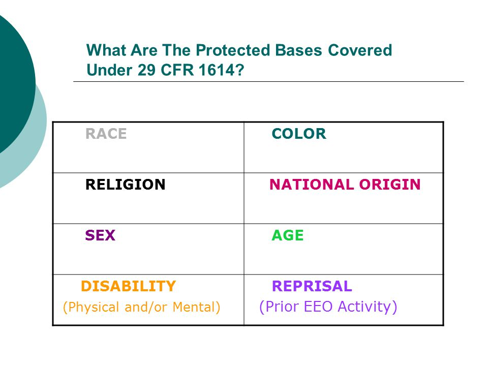 What Are The Protected Bases Covered Under 29 CFR 1614? RACE COLOR RELIGION NATIONAL ORIGIN SEX AGE DISABILITY (Physical and/or Mental) REPRISAL (Prio
