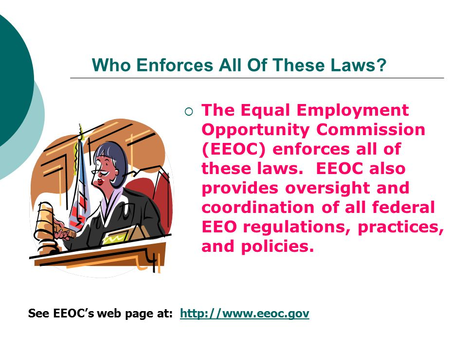  The Equal Employment Opportunity Commission (EEOC) enforces all of these laws. EEOC also provides oversight and coordination of all federal EEO regu