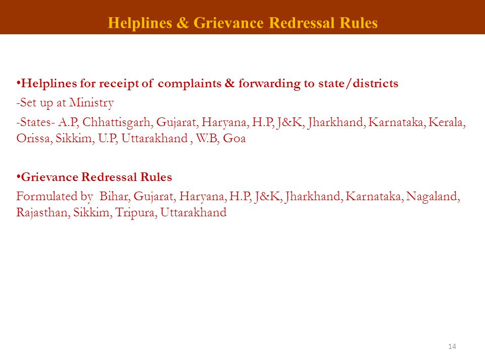 Helplines & Grievance Redressal Rules Helplines for receipt of complaints & forwarding to state/districts -Set up at Ministry -States- A.P, Chhattisga