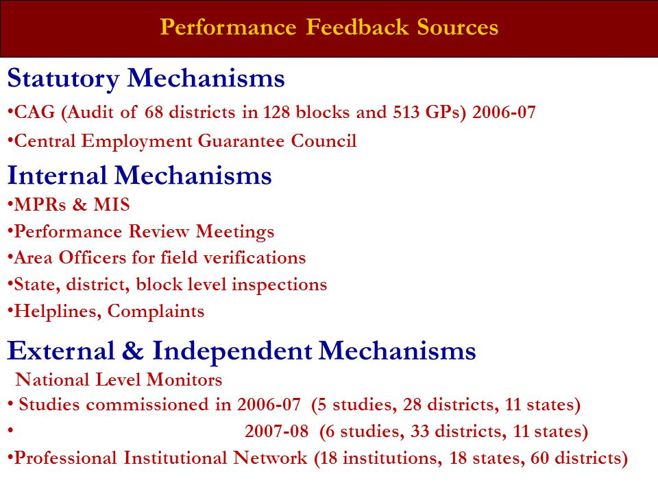 Performance Feedback Sources External & Independent Mechanisms National Level Monitors Studies commissioned in 2006-07 (5 studies, 28 districts, 11 st