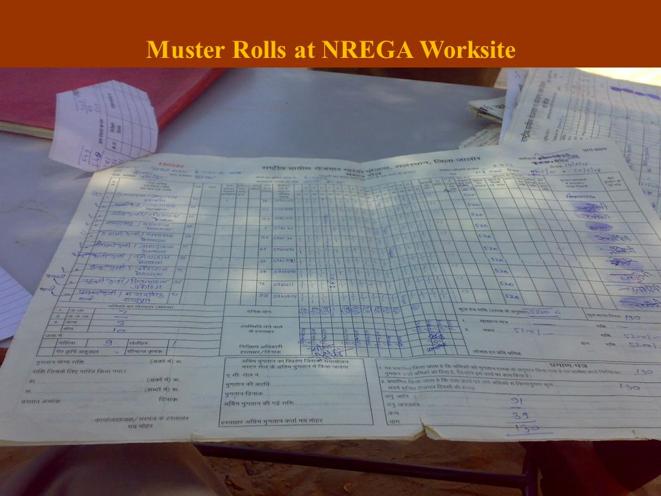 Muster Rolls at NREGA Worksite