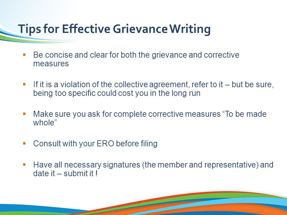Writing a Grievance