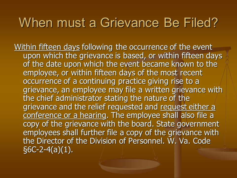 2.Grievant's Representatives A.Right to be present at any investigative or other meeting held with employee for purpose of discussing disciplinary action B.Right to be present at all levels of grievance process and speak on behalf of employee, call witnesses, cross-examine [§6C-2-3(g)(1)] c.No reprisals against participants [§6C-2-3 (h)]