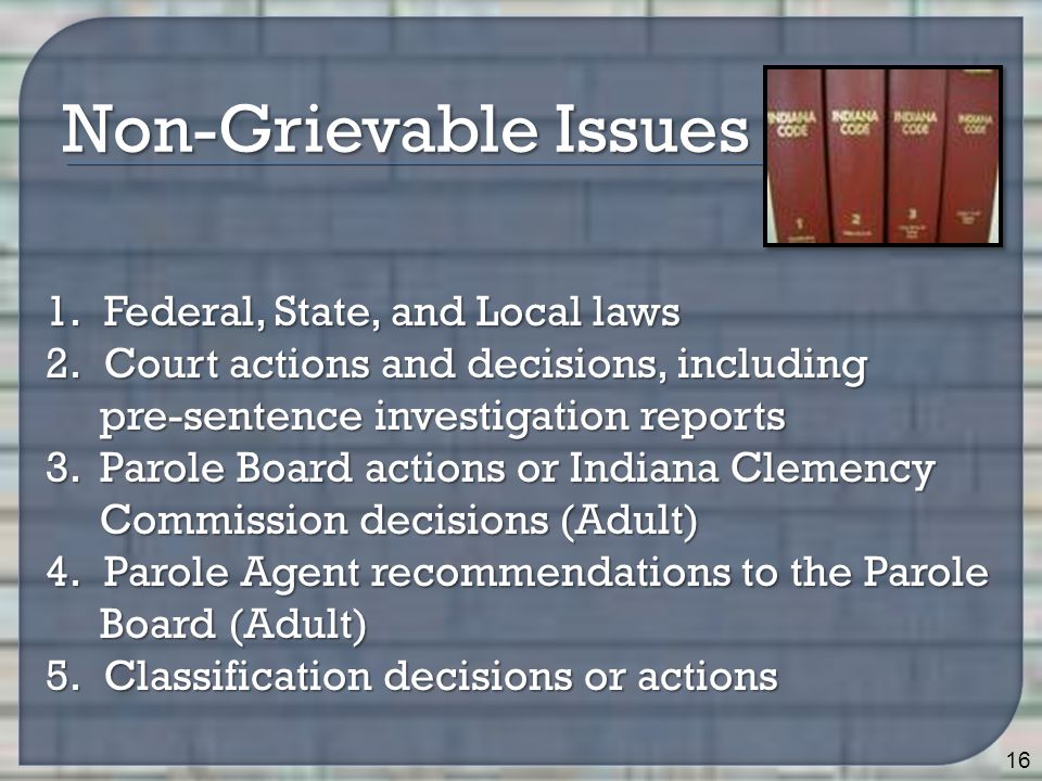 16 Non-Grievable Issues 1.Federal, State, and Local laws 2.Court actions and decisions, including pre-sentence investigation reports pre-sentence inve