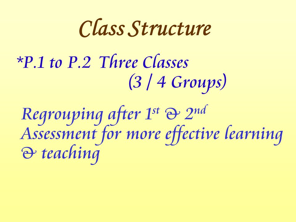 *P.1 to P.2Three Classes (3 / 4 Groups) Regrouping after 1 st & 2 nd Assessment for more effective learning & teaching Class Structure