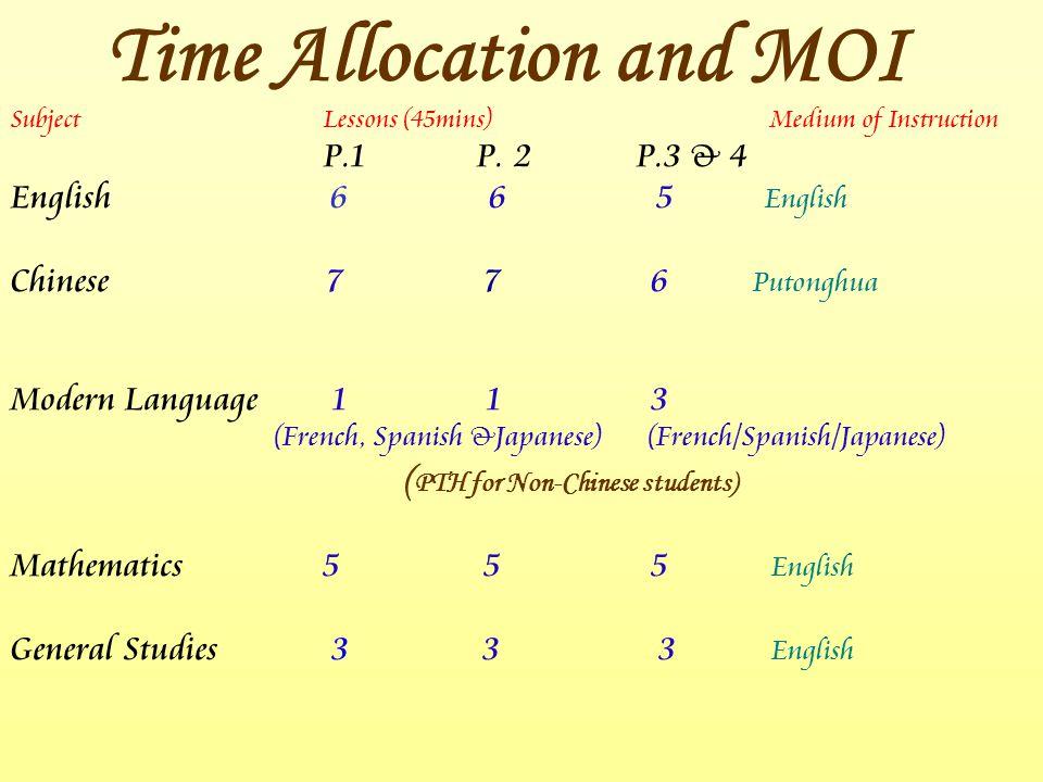 SubjectLessons (45mins) Medium of Instruction P.1 P. 2 P.3 & 4 English 6 6 5 English Chinese 7 7 6 Putonghua Modern Language 1 1 3 (French, Spanish &J