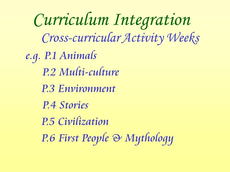 Curriculum Integration Cross-curricular Activity Weeks e.g. P.1 Animals P.2 Multi-culture P.3 Environment P.4 Stories P.5 Civilization P.6 First Peopl