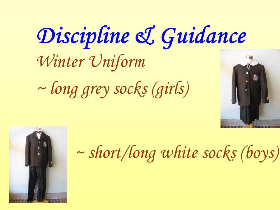 Discipline & Guidance Winter Uniform ~ long grey socks (girls) ~ short/long white socks (boys)