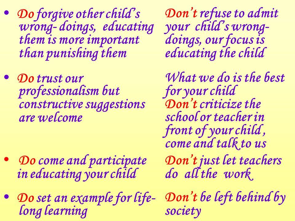 家長的錦囊 應該不應該  將心比己,體諒其他 孩子一時的過錯  只要求嚴懲他人,否 認自己孩子的問題  信任我們團隊的專業, 歡迎建設性的意見  在孩子面前批評學校 / 老師,請與我們聯 絡  與我們攜手教育孩子  只倚靠教師教育孩子  給孩子終身自學的榜 樣  落後於社會發展