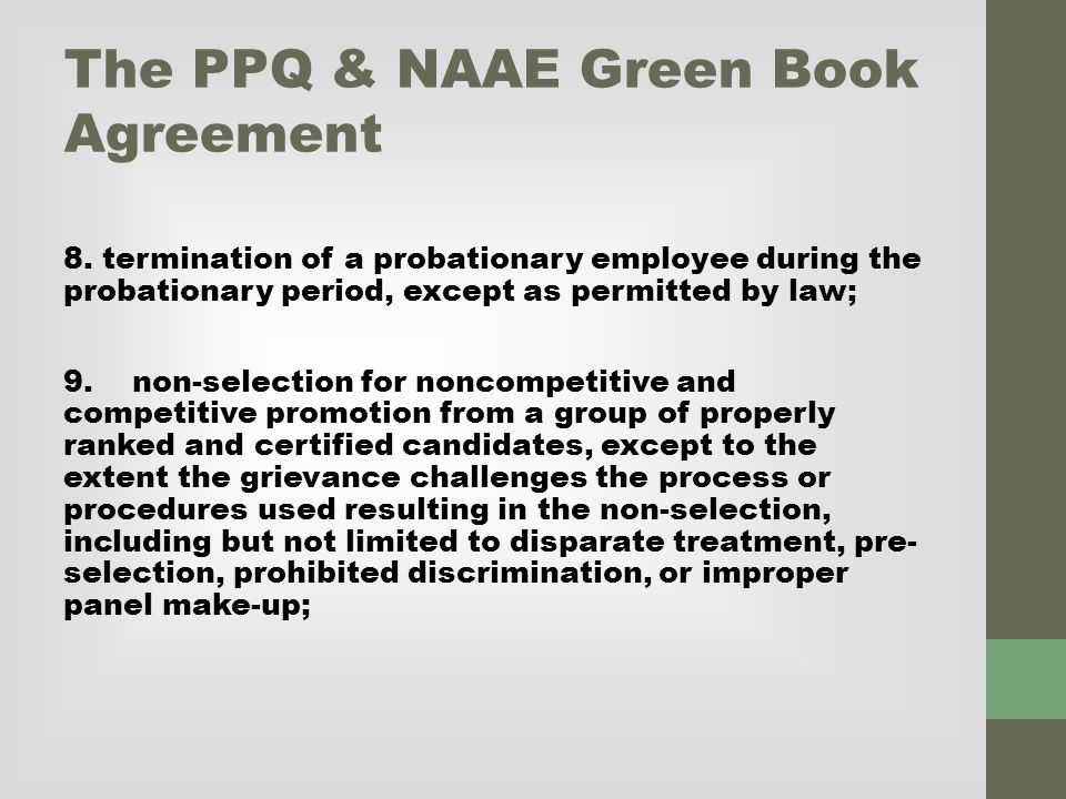 The PPQ & NAAE Green Book Agreement 8.