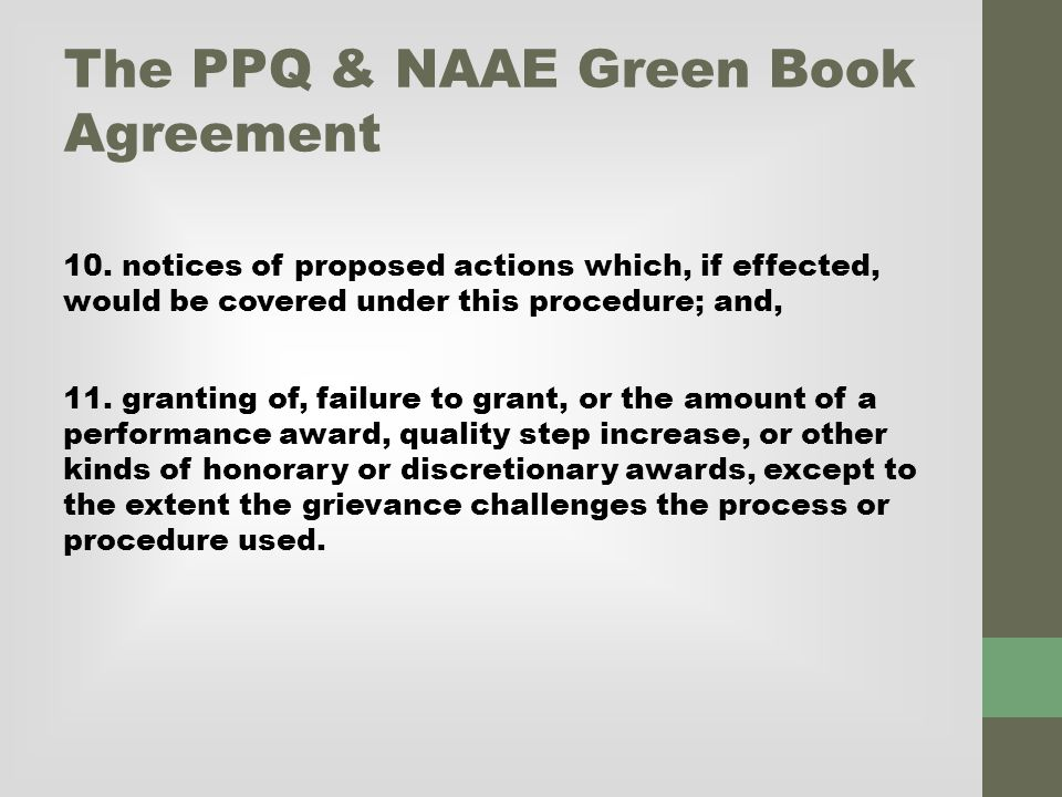 The PPQ & NAAE Green Book Agreement 10.