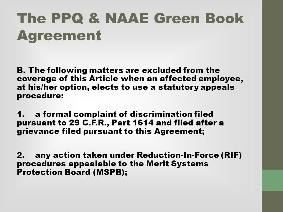 The PPQ & NAAE Green Book Agreement B.