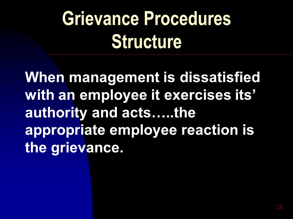 28 Grievance Procedures Structure When management is dissatisfied with an employee it exercises its' authority and acts…..the appropriate employee reaction is the grievance.